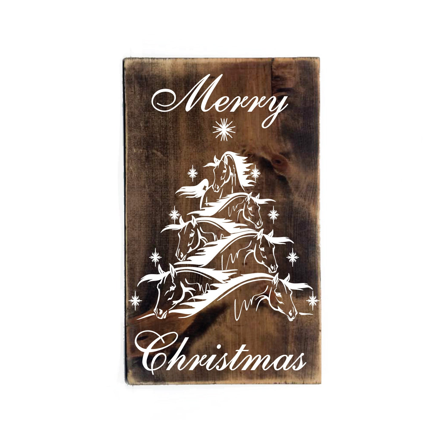Merry christmas horse tree design wood sign by