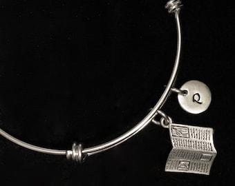 Newspaper Charm Bracelet, Journalism Bangle Bracelet, Adjustable Bracelet, Stainless Steel Bracelet, Initial Bracelet, Personalized, qb23