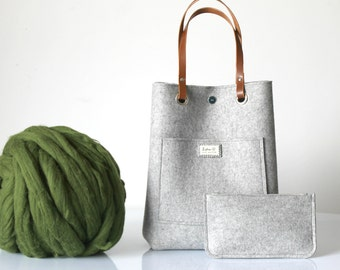 100% Design Wool Felt Tote with purse, Wool felt tote bag Casual tote, Leather handles tote.
