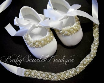 White Baby Girl Shoes,Christening,Baptism,Wedding,with Headband Set