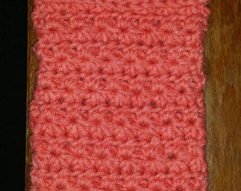 Mobile phone case crocheted in star stitch.