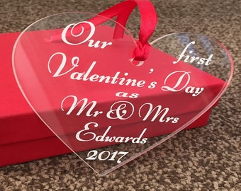 First Valentine's Day, Anniversary, Gift for boyfriend, Valentines Heart, Valentines Keepsake, Fiance Gift, Man Gift, Girlfriend Gift