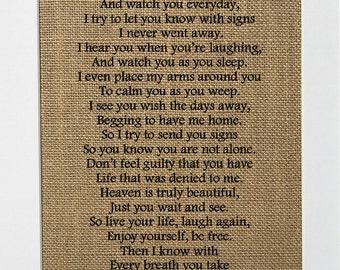 As I Sit In Heaven Poem - Burlap Sign- In Loving Memory Sign *burlap* - Memorial - Support -  home decor rustic 5x7 8x10
