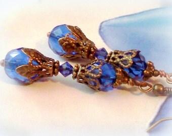 Swarovski Earrings, Cobalt Blue Earrings, Vintage Style Earrings, Victorian Earrings, Blue Crystal Earrings, Blue Earrings, Gift Under 25