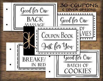 Coupon Book printable. Black & White. Instant download. DIY PDF. Digital print. Love vouchers. Gift for husband, wife, child, parent, friend