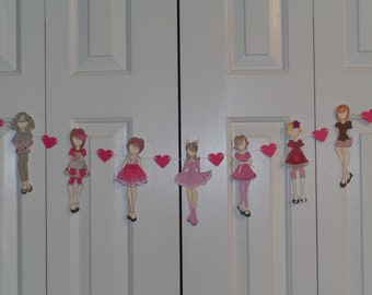 Doll garland - Paper doll birthday garland - Party Garland - Banners - Room decorations - Paper Piecing