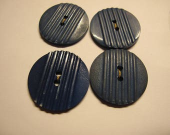 4 Art Deco, blue, casein buttons with groove detail 28 mm diameter