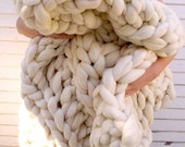 """ON SALE Huge Super Chunky Knit Merino Wool Blanket  60"""" x 60"""" Giant Knit, Extreme Knitting, Extra Chunky Wool Blanket, Bulky Knit Blanket, A"""