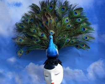 Blue and Green Peacock Costume Headpiece with Large Open Feather Tail Fan - Blacxk Sequin,  Hatinator Woodland Ascot Derby Avant Garde
