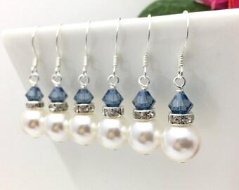 Denim Blue & Pearl Bridesmaid earrings • White Pearl earrings • Something blue earrings • Bridesmaid earrings • Bridal earrings