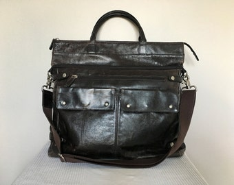 Vintage Inspired Black Leather Satchel Shoulder Bag Purse