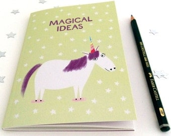 Magical Ideas Unicorn A6 Notebook (Plain) - Perfect size for your handbag!