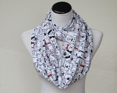 Cute dogs scarf, infinity scarf for dog lovers loop scarf cute white black red dog scarf - circle scarf gift for girl and mom