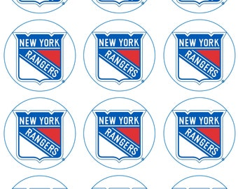 NY Ice Hockey Edible Image Cupcake Toppers
