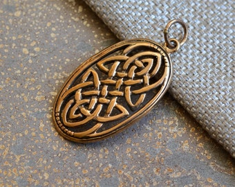 Celtic Knot Pendant in Bronze, Large Oval Celtic Knot, Infinity Knot, Endless Knot, Celtic Design, 38x23mm,Celtic Jewelry Making, BS16-406