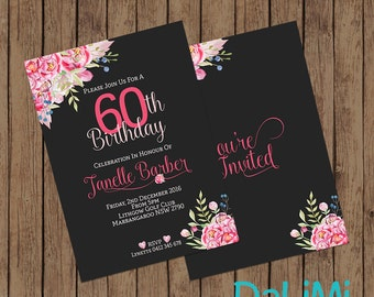 5 x 7 inch Floral Party Invitation - 60th Birthday Invitation - Black and Pink Party Invitation - Flower Invite - Printable Invitation!