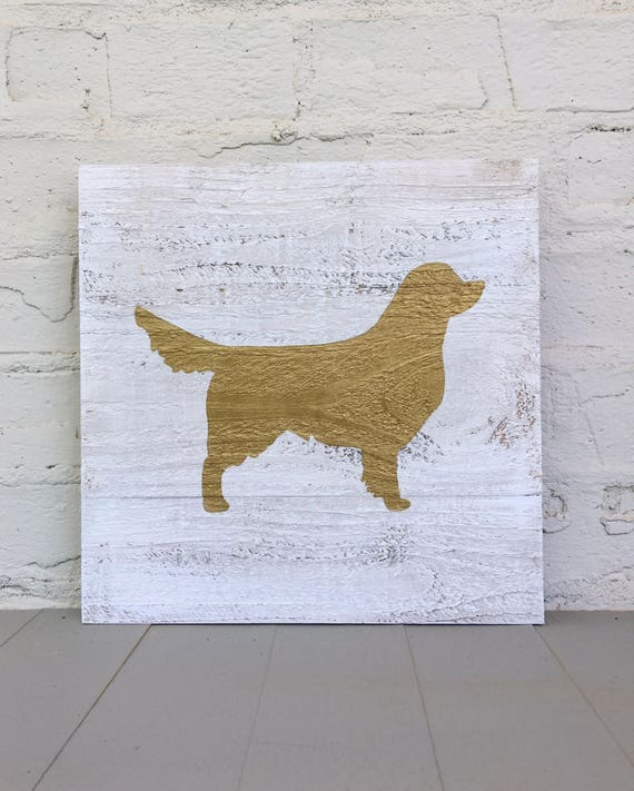 Golden Retriever Wooden Sign l Gold Metallic Dog on Distressed Rustic Wood Sign