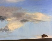 Clouds over the dyke, skyscape, Dutch landscape with sheep, original daily oil painting on panel 20x15cm