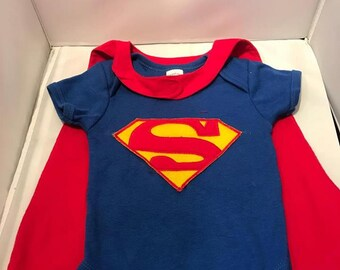 Superman SuperHero Baby,Infant, Bodysuit, Creeper Costume With Cape