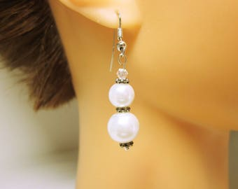 Beaded White Pearl Earrings