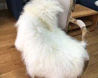SALE! Ivory icelandic sheepskin Rug, beautiful genuine icelandic sheepskin throw, chair cover