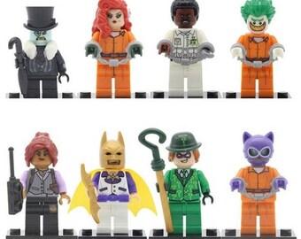 Lote de 8 Figuras Lego Batman, Hyedra Venenosa Poyson Ivy, Barbara Gordon, Joker, Catwoman, Aaron cash, Pingüino, Riddler Anigma customized
