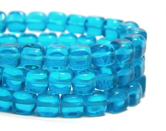 6mm Teal Cube Czech Beads, Blue Cube Beads, Retro Blue Beads, Cube Beads, 6mm Cube Beads, Blue Glass Beads, Blue Square Beads, T-98B