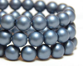 6mm Steel Blue Shell Pearls, 6mm Blue Pearls, 6mm Blue Gray Beads, Matte Blue Beads, Blue Gray Beads, 6mm Shell Pearls, Frosted Beads, B-56A