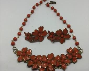 Vintage floral necklace and earing  set . Burnt orange/red and gold.