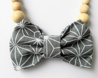 Children's Chain of Wooden Beads| Children Necklace| Necklace With Bow| Grey Bow Tie Necklace| Gift Idea