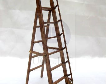 1:12 Scale Doll House Miniature library ladder  [ Finished in walnut]