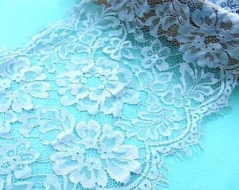 eyelash Lace Trim, fog blue Lace -17cm wide, Chantilly Lace, Bridal gown lace, Wedding Lace, Garter lace, Evening dress lace, veil Lace