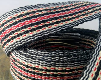 "Inkle weaving ribbon, strap, band, or trim - 3/4"" handwoven -  SCA, LARP, Viking, and Cosplay - Black, Gray, Red, Cream"