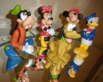 Disney Plastic Figurines Mickey, Minnie, Donald Duck, Pluto and Goofy
