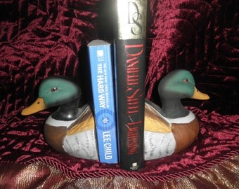 Mallard Duck Bookends in ceramic