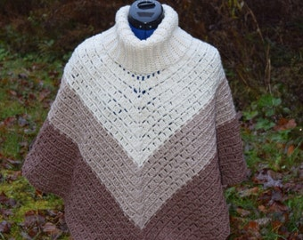 Cowl neck cape/poncho - ombre ivory/browns