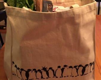 Penguin colony canvas tote bag