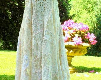 Bohemian lace patchwork asymetrical dress