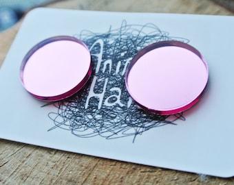 60's Style Metallic Pink Stud Earrings - Statement Earrings - Shiny pink circle Studs - Cute - kawaii