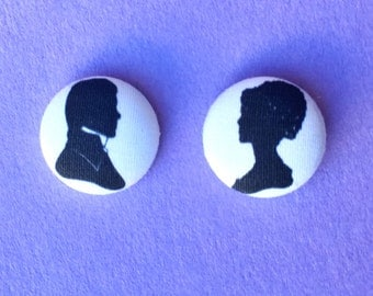 "SALE Handmade ""Elizabeth & Mr. Darcy"" Pride and Prejudice Inspired Silhouette Earrings"