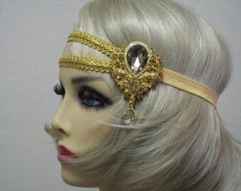 Gold Bridal Headpiece, Flapper headpiece, 1920s headband, Bohemian Headpiece, 20s Art Deco, Jewelry Head Piece, Bollywood Bride