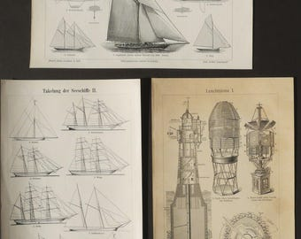 1895 Lot of 3 antique prints of NAVIGATION. Antique Yacht. Lighthouse. Antique Boats. Ships. Sailing Boats. 122 years old lithographs