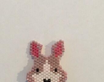 Brooch of beads, Bunny