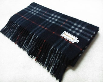 Vintage Burberrys Cashmere Scarf Checks Pattern Navy Blue Neck Wrap Muffler Made In Japan B08