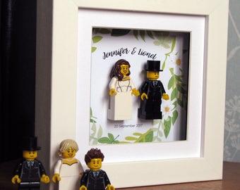 0028LW Mini Bride & Groom LEGO® Wedding customisable Wall Art Frame