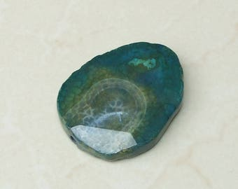 Teal Blue Green Agate Druzy Faceted Bead  - Teal Druzy Slab Bead - Druzy Agate Pendant - 44mm x 56mm - 3506