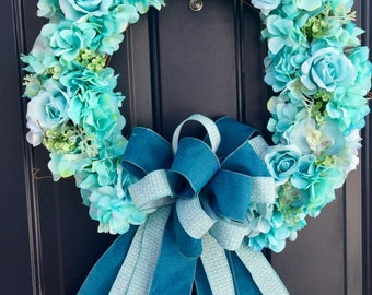 Hydrangea Spring Wreath For Front Door, Rose Wreath For Front Door, Summer Wreath, Blue Spring Wreath, Hydrangea Rose Wreath, Spring Door