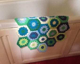 Crochet Bath Mat Green/Blue