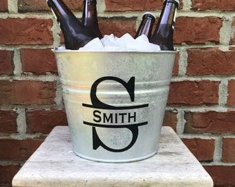 Personalized Groomsmen Gift - Father's Day Gift- Groomsman Gift - Gifts for dad- Galvanized Beer bucket -  Ice bucket - Housewarming Gift