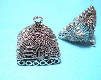 Antique Silver Extra Large Tassel Caps Cone Bead Caps